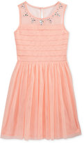 Sequin Hearts Jeweled Mesh Dress, Big Girls (7-16)