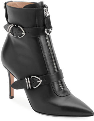 Gianvito Rossi Napa Buckled Zip-Front Ankle Bootie