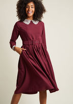 Collectif Cottage Cocktails Long Sleeve Dress in XXL - Fit & Flare Midi by Collectif from ModCloth