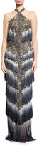 Marchesa Beaded Ombre Halter Gown, Slate