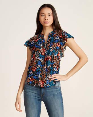 Calvin Klein Floral Print Split Neck Flutter Sleeve Top