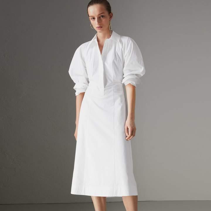 Burberry Panelled Stretch Cotton Shirt Dress , Size: 06, White