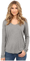 Heather Long Sleeve Rib Shirt Tail Tee