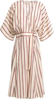 Vanessa Bruno Striped Cotton Midi Wrap Dress