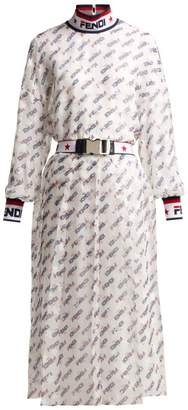 Fendi Mania Logo-print Silk-blend Georgette Dress - Womens - White Multi