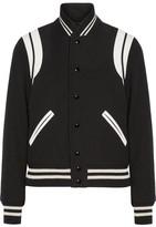 Saint Laurent Teddy Leather-trimmed Wool-blend Bomber Jacket