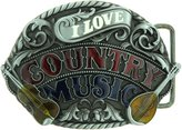 Yippo Accessories I Love Country Music Belt Buckle
