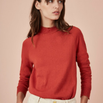 Des Petits Hauts Red Pullover with Raglan Sleeves - T1