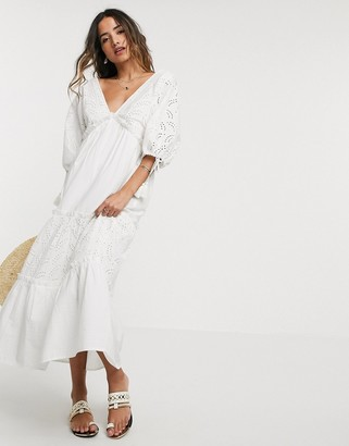 Asos DESIGN broderie tiered maxi dress in cream
