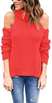 SEBOWEL Cutout Cold Shoulder High Neck Ribbed Knit Tops Blouse Shirts Pullover
