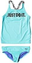 Nike JDI Cross-Back Tankini (Little Kids/Big Kids) (Black) Girl's Swimwear Sets