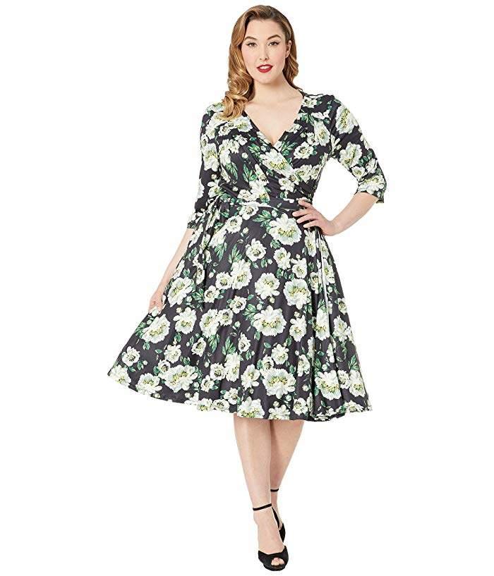 Plus Size 1940s Style Kelsie Wrap Dress