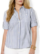 Lauren Ralph Lauren Plus Roll-Sleeve Cotton Dress Shirt