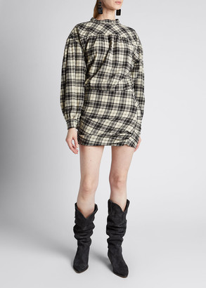 Etoile Isabel Marant Faber Plaid Wool Mini Dress with Long Sleeves