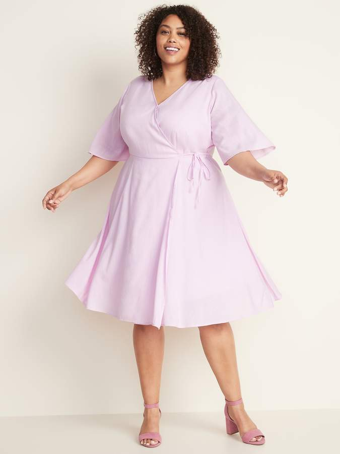 Faux-Wrap Waist-Defined Plus-Size Dress