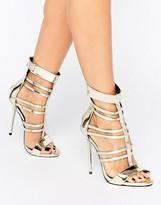 Missguided Metallic Strappy Gladiator Heeled Sandals