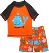 iXtreme Little Boys Cute Whale Short Sleeve Rashguard Board Swim Trunk Set