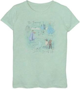 Licensed Character Disney's Frozen 2 Girls 6-16 Sketched Watercolor Top