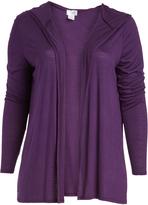 Purple Hooded Open Cardigan - Plus