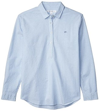 Southern Tide Hadley Popover in Stretch Oxford (Boat Blue) Women's Clothing