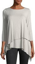 Joan Vass 3/4-Sleeve Layered Blouse