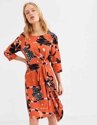 Selected printed midi dress-Orange