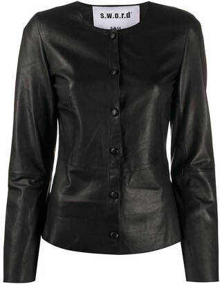 S.W.O.R.D 6.6.44 fitted leather jacket