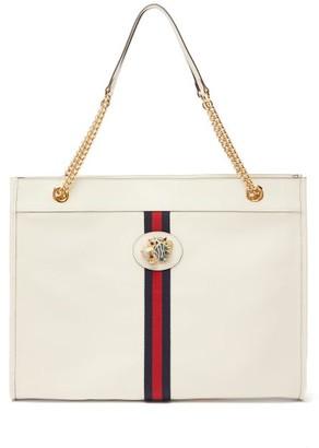Gucci Rajah Web-striped Leather Tote Bag - White