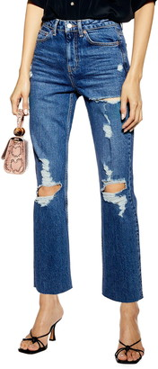 Topshop Ripped Straight Leg Crop Jeans