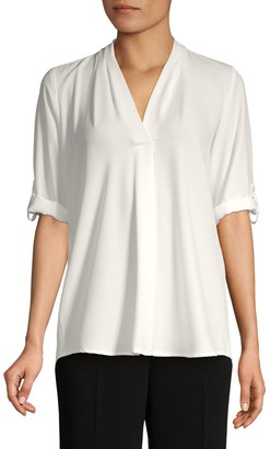 Calvin Klein Collection Roll-Sleeve Split-Neck Top