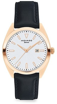 Movado Heritage Datron Rose Goldplated Stainless Steel & Leather Strap Watch