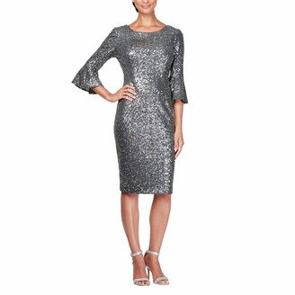 Alex Evenings Women's Plus Size Short Shift Dress with Bell Sleeves