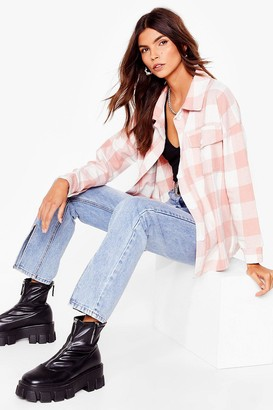 Nasty Gal Womens Off the Grid Oversized Shirt Jacket - Pink