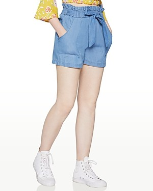 BCBGeneration Tie-Waist Cotton Paper Bag Shorts