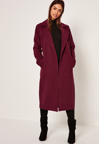 Missguided Longline Faux Wool Duster Coat Purple