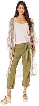 Steve Madden Pastel Paisley Belted Sleeve Kimono