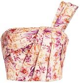 AMUR Madame Satin Pleated Floral Crop Top