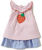 Starting Out Baby Girls Newborn-24 Months Strawberry-Appliqued Stripe Top & Chambray Skort Set