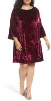 Gabby Skye Plus Size Women's Bell Sleeve Velvet Shift Dress