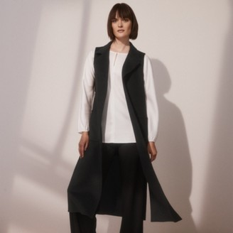 The White Company Double Face Wool Gilet, Black, Extra Small