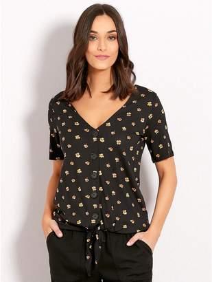 M&Co Floral print button tie front top