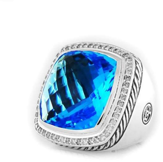 David Yurman Sterling Silver Blue Topaz & Diamonds Albion Ring Size 6