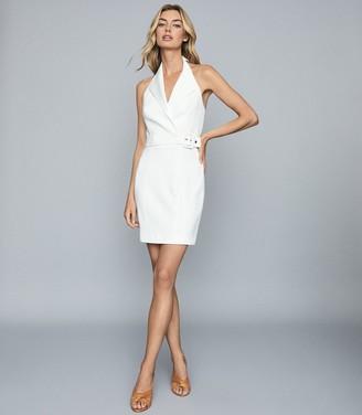 Reiss IMMY Twill halterneck tux dress White