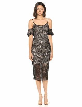 Dress the Population Women's Sacha Cold Shoulder Lace Midi Sheath Dress