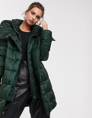 Stradivarius padded coat with double collar in green