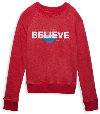 Spiritual Gangster Girl's Believe Raglan Crewneck Sweater