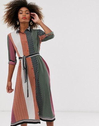 French Connection mix and match maxi shirt dress-Multi