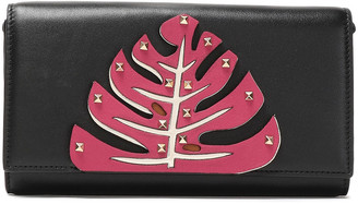 Valentino Studded Appliqued Leather Clutch