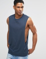 Asos Sleeveless T-Shirt With Extreme Dropped Armhole In Blue