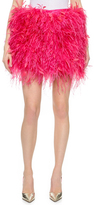 DSQUARED2 Feather Skirt with Snakeskin Waist